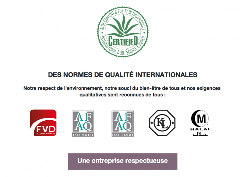 les labels de qualité de forever living products